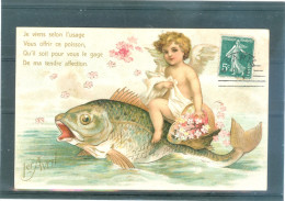 Relief - Gaufrée - Embossed - Prage - Anges - Poisson - TBE - Angels