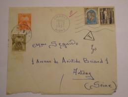 Lettre  : Taxée  D'Algérie  Vers  La   France En 1955 - Postage Due