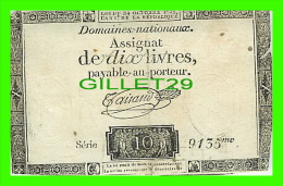ASSIGNAT DE DIX LIVRES PAYABLE AU PORTEUR - SERIE 10 - 9135me - LOI DU 24 OCTOBRE 1792 - - Assignats & Mandats Territoriaux