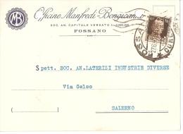 FOSSANO ( CUNEO ) OFFICINE MANFREDI - BONGIOVANNI - TESTATINA PUBB.  PERFIN 1940 - Cuneo