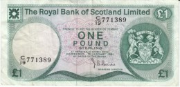 Royal Bank Of Scotland #336 1981, 1 Pound Banknote Currency Money - 1 Pond
