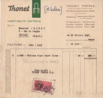 Facture - Chaises Noyer Lisse - Thonet Paris - Enghien - Timbre Fiscal - 1937 - Revenue Stamps