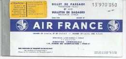 BILLET DE PASSAGE  ET BULLETIN DE BAGAGE   AIR FRANCE