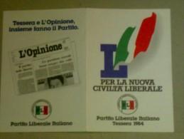 TESSERE DI PARTITO - PARTITO LIBERALE ITALIANO 1984 - Vecchi Documenti