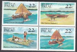 PALAU, 1985 BOATS BLOCK 4 MNH - Palau