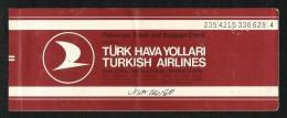 Turkish Airline  Transport Ticket 1989 Used Passenger Ticket  Turkey 3 Scan