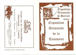 CALENDRIER  EXPOSITION ARTISANALE  DE LA TOUSSAINT SARRAS ARDECHE 1998  PUBLICITE CAVE DE SARRAS  COTES DU RHONE - Tamaño Pequeño : 1991-00