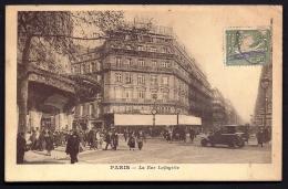 CPA COMMERCIALE ANCIENNE- FRANCE- PARIS (75)-  RUE LA FAYETTE AVEC TRES BELLE ANIMATION- AUTO- TIMBRE PERFORÉ-  2 SCANS - Non Classificati