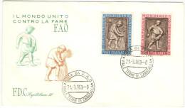 ITALIA - ITALY - ITALIE - 1963 - CAMPAGNA MONDIALE CONTRO LA FAME - Capitolium - FDC - F.D.C.