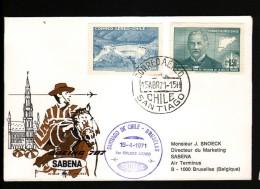 CHILI, ENVELOPPE SABENA POUR BRUXELLES, BELGIQUE, 15/4/71 - Chili