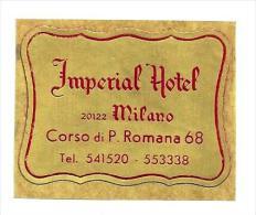 HOTEL ALBERGO PENSIONE IMPERIAL MILANO MINI ITALIA ITALY TAG DECAL LUGGAGE LABEL ETIQUETTE AUFKLEBER
