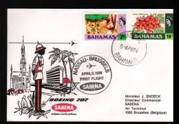 BAHAMAS, ENVELOPPE SABENA POUR BRUXELLES - Bahamas (1973-...)
