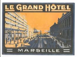 Etiquette d�h�tel Vintage Label: Le Grand H�tel Marseille 1920