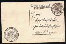 A2959) AD Württemberg Dienst-Drucksache-Karte Stuttgart 29.8.1913 Gebraucht Used - Wuerttemberg