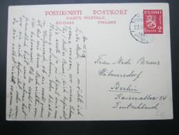 1938, Ganzsache Nach Berlin - Finlandia
