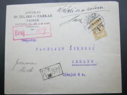 1921, Einschreiben  Aus  Zagreb - 1919-1929 Königreich Der Serben, Kroaten & Slowenen