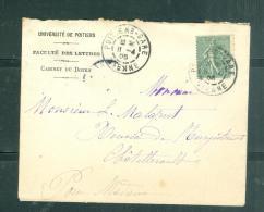 LAC  Entete Universite De Poitier Affranchie Par Yvert N°130 , Cad 84 Poitiers  Gare En 1905 - Mala0604 - 1877-1920: Semi Modern Period