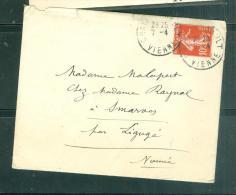 LAC   Affranchie Par Yvert N°138  , Cad  Chatellerault En 1910  - Mala0612 - Postmark Collection (Covers)