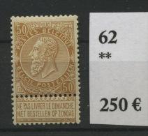 62 **  50c Bistre   Cote 250 E  Luxe - 1893-1900 Thin Beard