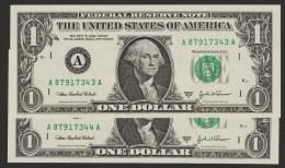 USA LOT 2x 1 DOLLAR 2003A SERIE A....A     LETTER A - Boston MA  No CONSECUTIFS  UNC - Biljetten Van De  Federal Reserve (1928-...)