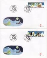 GREENLAND 2002 Christmas Set  On 2 FDCs   Michel 389-90 - FDC