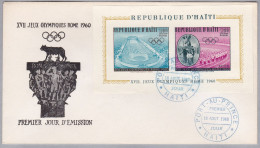 MOTIV Jeux Olympiques  Rome 1960 (Olympiade) Ersttag Brief Mit Block Von Haiti - Haïti
