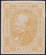 Mexico 1872 50Cent. Gelb. Mi#78* Falz - Mexique