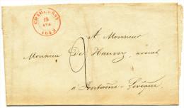 1842 BRIEF  VAN CHARLEROY NAAR FONTAINE L'EVEQUE (GEEN AANKOMSTSTEMPEL)  Zie Scan(s) - 1830-1849 (Independent Belgium)