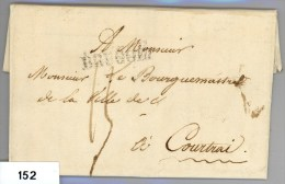 Complete Brief Van Brugge Naar Courtrai (Kortrijk) Van 7-6-1827 - 1815-1830 (Période Hollandaise)