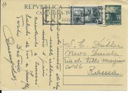 CPC141 -INTERO POSTALE - C141- CARTOLINA DEMOCRATICA CON ANNULLO TARGHETTA-REPUBBLICA -VIAGGIATA DA CIVITAVECCHIA A ROMA - 6. 1946-.. Repubblica