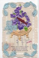 24279 1er Avril Poisson Relief Violette Noeud Decoupis Rodoide Dentelle - Affection - 1er Avril - Poisson D'avril