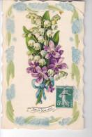 24281 1er Mai Muguet Violette -relief Doux Souvenir -sans Ed - Fêtes - Voeux