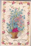24282 Bouquet Mysotis Rose Panier - En Relief -joie Sante Bonheur -sasn Editeur - Fêtes - Voeux