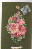 24283 Bouquet Decoupis Souvenir Amitie -rodoide Vert -sans Ed - Fêtes - Voeux