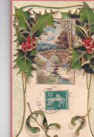 24285 Noel Relief Houx Doré En Relief -made Germany SK..