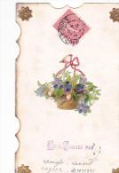 24286 Ne M'oubliez Pas , Decoupis Bouquet Violette Panier - Sans Edieur