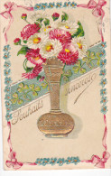 24293 Souhaits Sinceres , Bouquet Vase - En Relief Doré -sk;. Germany - Fantaisies