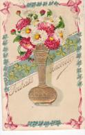 24293 Souhaits Sinceres , Bouquet Vase - En Relief Doré -sk;. Germany