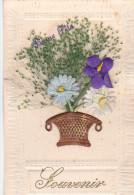 24294 Souvenir -bouquet Panier Fleur Tissus Herbe -bonne Fete -relief