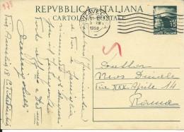CPC141.10 -INTERO POSTALE - C141- CARTOLINA DEMOCRATICA -REPUBBLICA -VIAGGIATA DA CIVITAVECCHIA A ROMA - 6. 1946-.. Repubblica