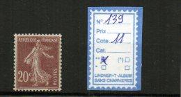 FRANCE LUXE ** N° 139 - 1906-38 Semeuse Con Cameo