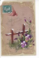 24303 Cpa Rodoide Peinte Fleur Doré - Petit Manque ! - Bonne Année - Nouvel An