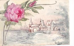 24308 Cpa Peinte à La Main, A Florin -rose Fleur Paysage - Ecrite Par L'auteur - Illustrateurs & Photographes