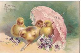 24312 Heureuses Paques  Poussin Parapluie -en Relief - Sans Ed - - Pâques