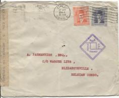 Lettre Egyptienne Le Caire 1944 V.Elisabethville Congo Belge Diverses Censures C.d'arrivée PR1484 - Ägypten