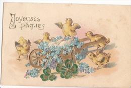 24315 Joyeuses Paques  Poussin Attelage - En Relief - Myosotis Trefle -