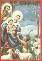 CARTOLINA VG ITALIA - BUON NATALE - Sacra Famiglia Con Pastorello Che Porge Doni - Fiori - 10 X 15 - ANN. 1962 - Natale