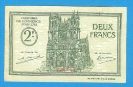 COMMERCE ) 2 Frs - Chambre De Commerce  D'amiens - Doullens - Montdier - Vert - Pli Central Au Revers - Chamber Of Commerce