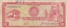 Pérou - Billet De 10 Soles De Oro - 16 Octobre 1970 - Garcilaso Inca De La Vega - Peru