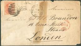 N°12 - Médaillon 40 Centimes Vermillon, Margé, Obl. 8 Barres NORD  Sur Lettre De BRUXELLES-NORD Le 21-3-1861 Vers Londre - 1858-1862 Medallions (9/12)